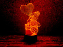 """3D светильник """"Мишка"""" сенсорный, разные цвета"""