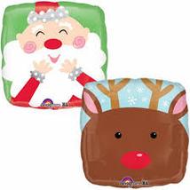 """Шар фольгированный 18"""" Рождество. Санта и олень 46 см"""